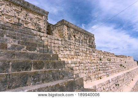 Ruins known as the Governors Palace in the ancient Mayan ruins of Uxmal in Mexico