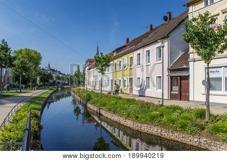 DETMOLD, GERMANY - MAY 22, 2017: Colorful canal in the historic center of Detmold, Germany