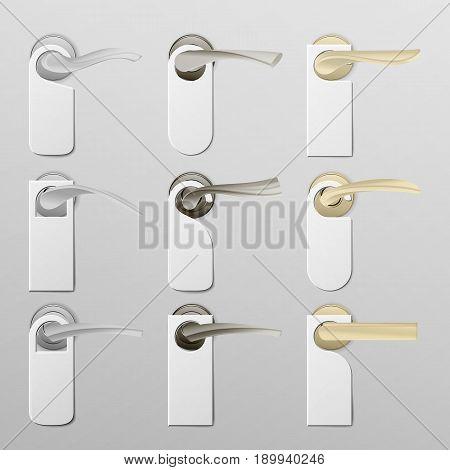 Metal Door Handle Lock with Hanger. Realistic Mock Up. Do Not Disturb. Vector Illustration. Vector