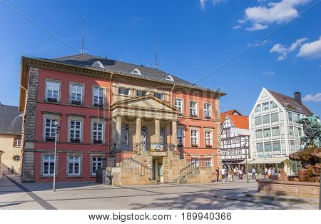 DETMOLD, GERMANY - MAY 22, 2017: Old town hall building at the market square of Detmold, Germany