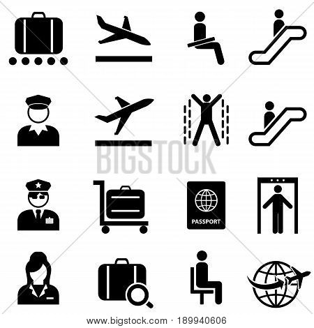 Airport security and air plane travel web icon set