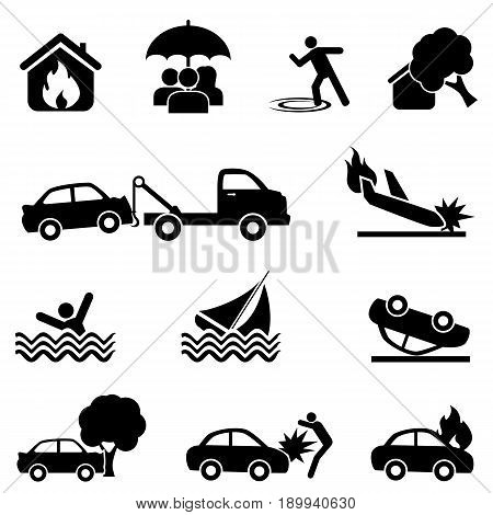Insurance and accident web icon set in black
