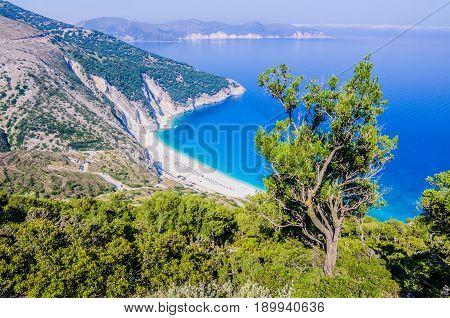 Top View of beautiful Myrtos Bay and Beach on Kefalonia Island, Greece.