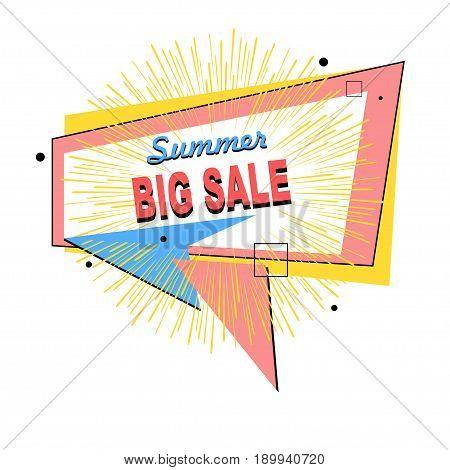 Sticker label icon or banner for sale. Summer design elements for markets stores and shops. Vector illustration.