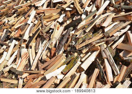 Rural Stack Firewood Textured Background. Stack Firewood Background Concept.
