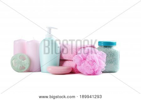 Pink Towels With Soap, Wisp And Candles Isolated On A White Background
