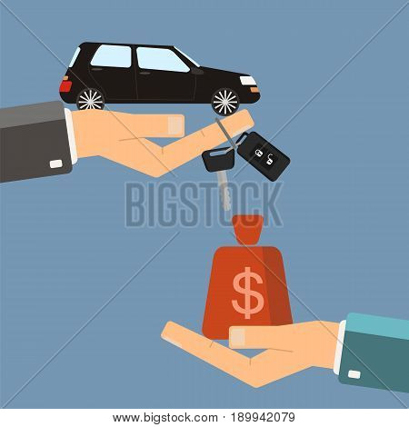 Car rental or sale concept. Hand of agent hold car key hand of buyer hold gold money bag. Vector illustration