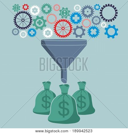 Profit and investment concept. Gears falling into the funnel converted to the money.