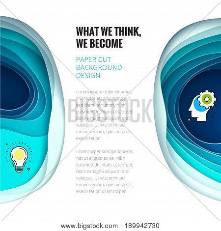 Paper cut concept. Paper carve abstract background for card, banner, brochure or flyer design in teal blue colors