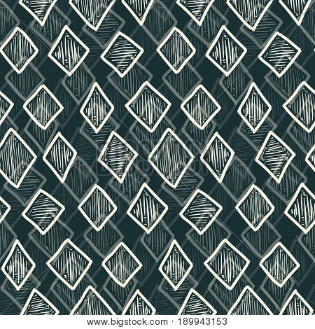 Abstract Monochrome Hand Drawn Rhombus Pattern