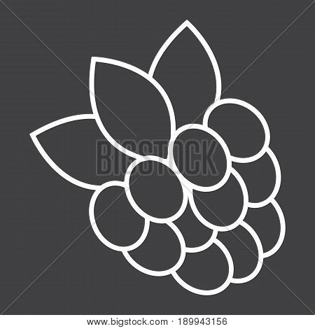 Raspberry line icon, fruit and diet, vector graphics, a linear pattern on a black background, eps 10.