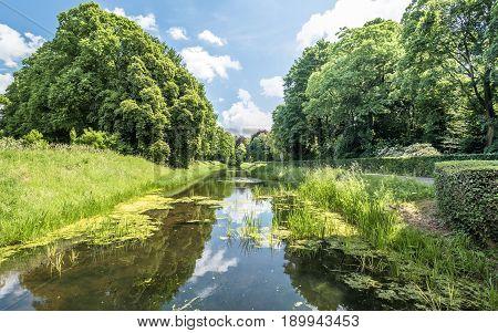 Ditch around the medieval castle De Haar in Netherlands, Europe