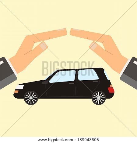 Concept of insurance and protection security. Hands of agent protect car. Flat vector illustration.