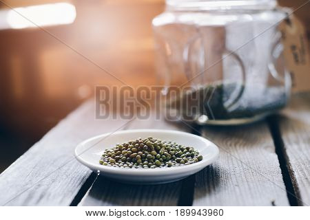 Raw Green Mung Beans On Small Plate