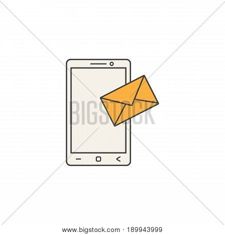 Mobile mail line icon, sms sign, message, social media, filled vector graphics, a colorful linear pattern on a white background, eps 10.
