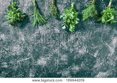 Fresh cilantro, tarragon, dill, oregano, thyme and lemon balm potherbs over dark grey spotty background. Top view