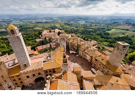 San Gimignano is a small walled medieval hill town in the province of Siena Tuscany Italy
