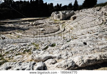 Archaeological Park of Neapolis in Syracuse, Sicily, ancient Greek theater
