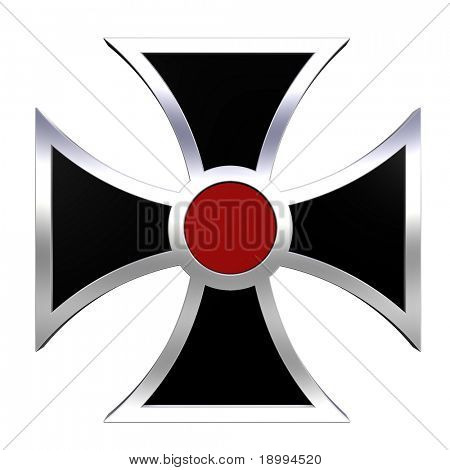 Black and red choppers cross isolated on white. Computer generated 3D photo rendering.