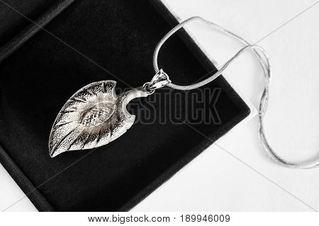 Silver leaf pendant on a chain in black jewel box closeup