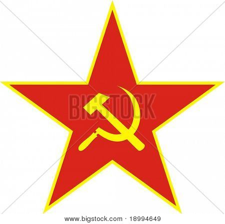 Communist red star with hammer and sickle on white background. Vector illustration.