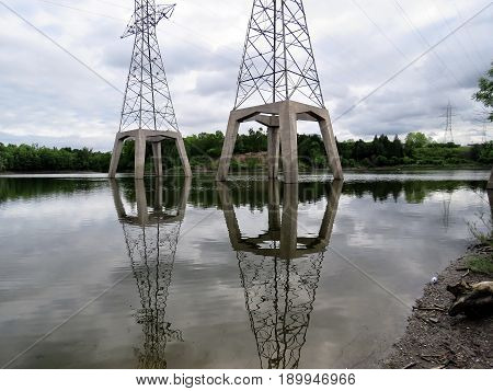 Transmission towers with nests of Cormorant in Toronto Canada June 5 2017