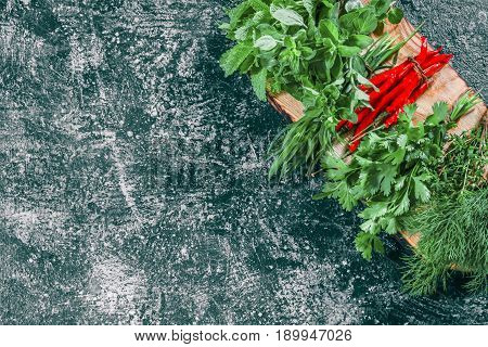Fresh chili peppers, cilantro, dill, thyme, lemon balm, tarragon and oregano  potherbs on cutting board ready for cooking. Dark grey spotty background. Top view
