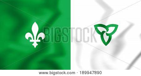 3D Franco-ontarian Flag. Ontario, Canada.