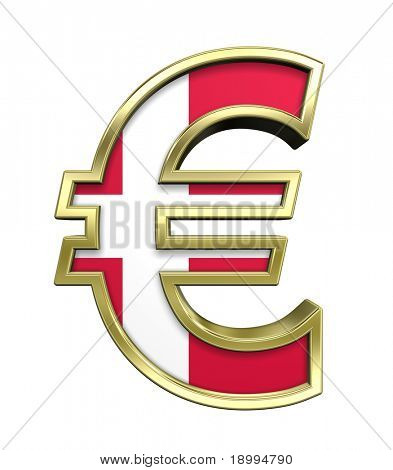 Gold Euro sign with Danish flag isolated on white. Computer generated 3D photo rendering.