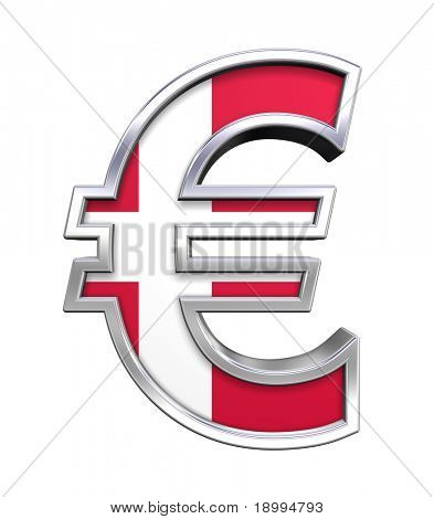 Silver Euro sign with Danish flag isolated on white. Computer generated 3D photo rendering.