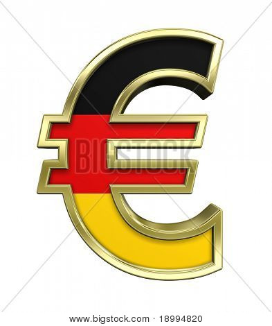 Gold Euro sign with Germany flag isolated on white. Computer generated 3D photo rendering.