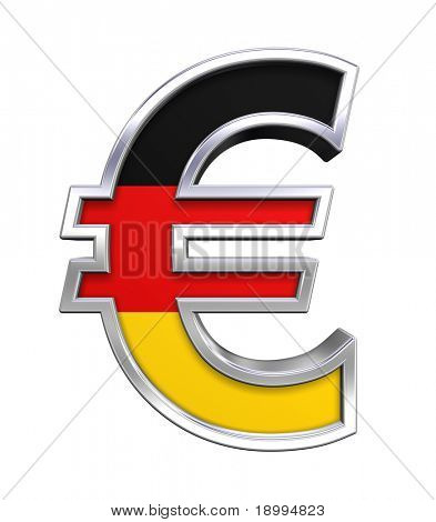 Silver Euro sign with Germany flag isolated on white. Computer generated 3D photo rendering.
