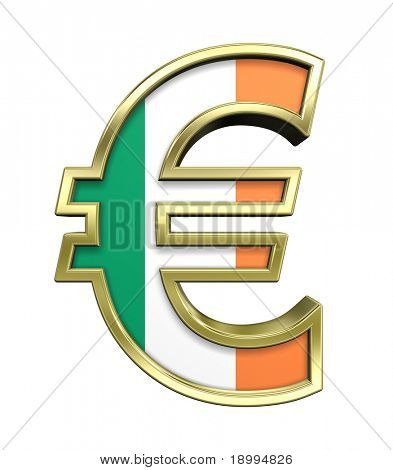 Gold Euro sign with Ireland flag isolated on white. Computer generated 3D photo rendering.