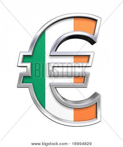 Silver Euro sign with Ireland flag isolated on white. Computer generated 3D photo rendering.