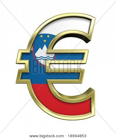 Gold Euro sign with Slovenia flag isolated on white. Computer generated 3D photo rendering.