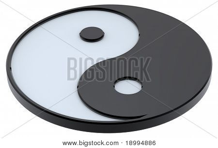Black and white Yin-Yang, symbol of harmony. Computer generated 3D photo rendering.
