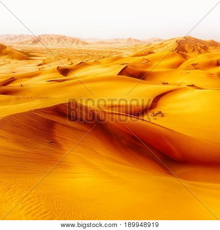In Oman Old Desert  Rub Al Khali The Empty  Quarter And Outdoor  Sand Dune