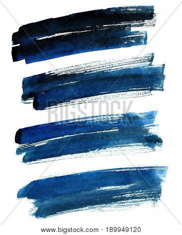 Black-blue bold brush strokes isolated on the white background. Raster illustration