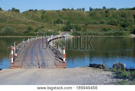 Old Rjazan, Russia - Summer, 2016: Pontoon Bridge Over Oka River.