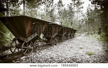 Old ore carts at an abandoned mine on Upper Peninsula, Michigan