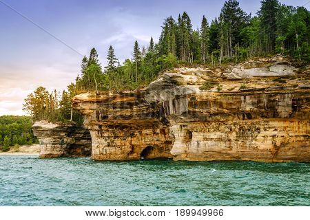 Battleship Rocks formations at Pictured Rocks National Lakeshore on Upper Peninsula, Michigan