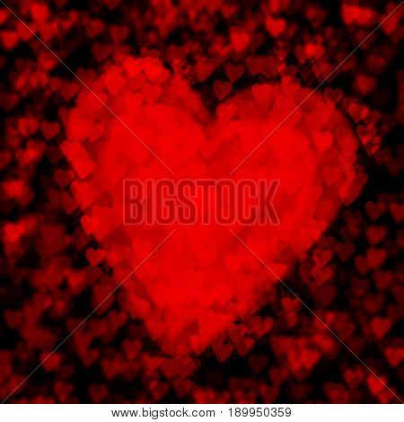 Love card concept Valentine's Day Mothers Day red heart on top each other dark