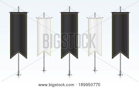 Five black and white vertical royal flags, standing in a row. Banner flag templates isolated on background. Vertical flags realistic mockup.