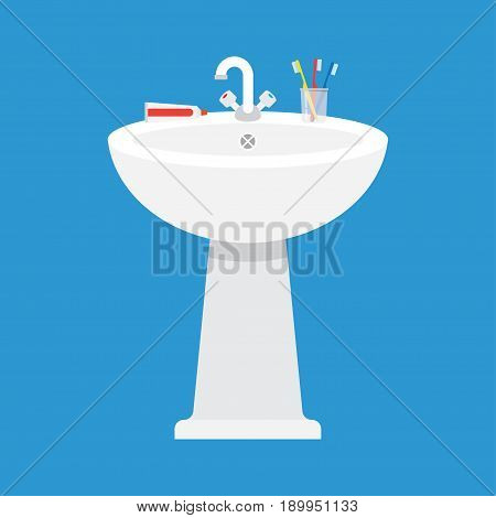 ceramic washbasin in the bathroom Vector illustration