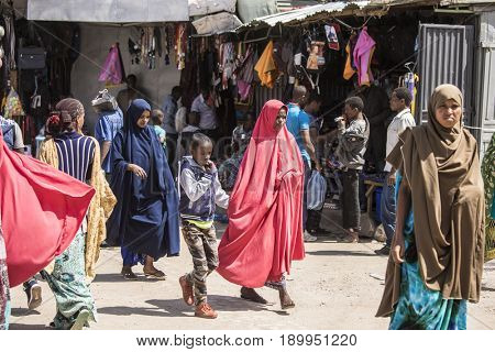 HARAR, ETHIOPIA-MARCH 31, 2017: Unidentified people buy and sell in a market in Harar, Ethiopia