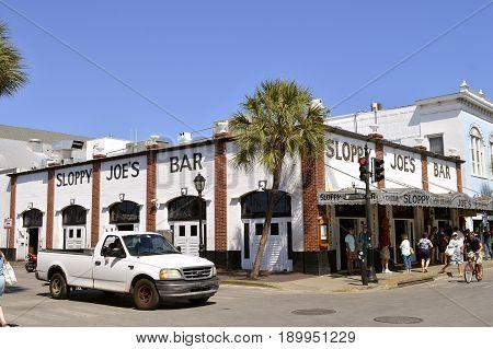 Key West Florida Keys Florida USA - May 15 2017 : Sloppy Joe's Bar in Key West frequented by Ernest Hemingway