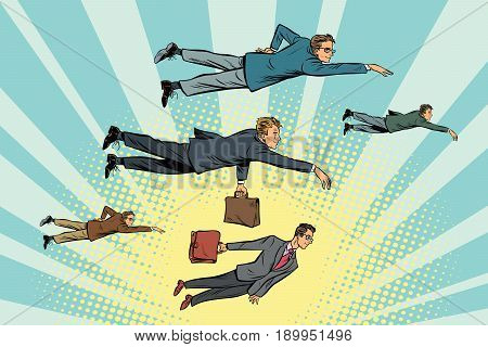 Businessmen are floating in the air. Cartoon comic illustration pop art retro style vector