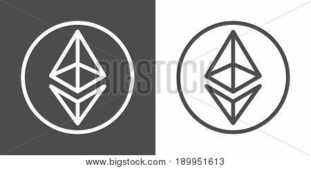 Ethereum line icons for internet money. Crypto currency symbols and coin images. Blockchain based secure cryptocurrency. For using in web projects or mobile applications. Isolated vector illustration.
