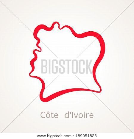 Cote D'ivoire - Outline Map