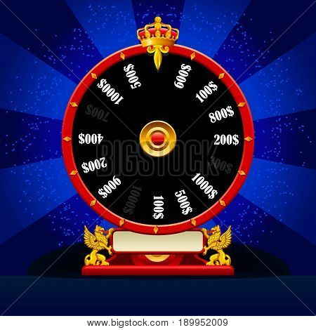 Fortune wheel realistic vector spinning lucky roulette 3D flat modern luck concept for web template illustration